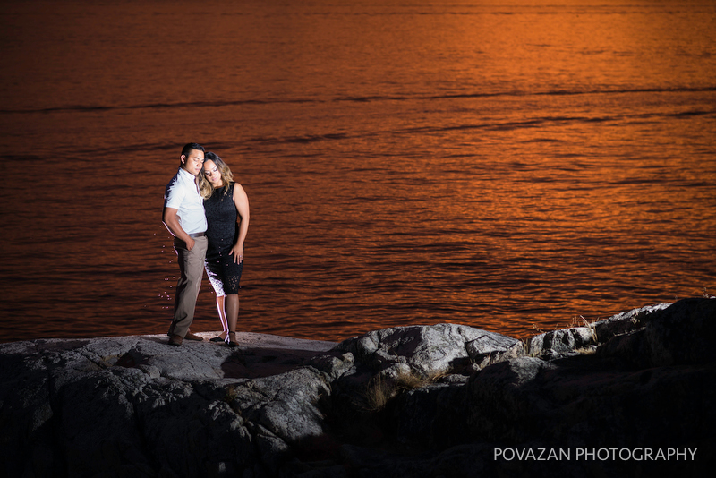 Sunset and dusk engagement pictures at Lighthouse park Vancouver